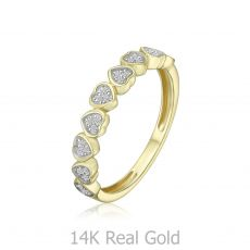 טבעת יהלומים מזהב צהוב 14 קראט - לבבות  ניקה