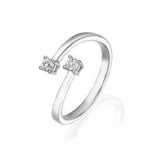 טבעת יהלומים מזהב לבן 14 קראט - ריי