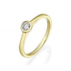 טבעת יהלומים מזהב צהוב 14 קראט - מון