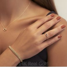 טבעת רובי ויהלומים  מזהב צהוב 14 קראט - לב רויאל