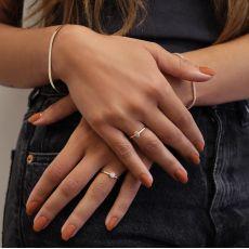 טבעת יהלום טיפה מזהב צהוב 14 קראט - טיפה