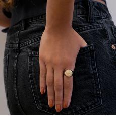 טבעת חותם מזהב צהוב 14 קראט - חותם מומבאי