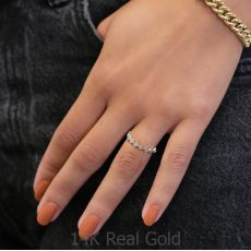 טבעת יהלומים מזהב לבן 14 קראט - סקרלט