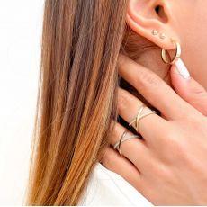 טבעת איקס לאישה מזהב לבן 14 קראט - רוקסי