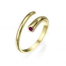 טבעת לנשים מזהב צהוב 14 קראט - ספירלה אדומה