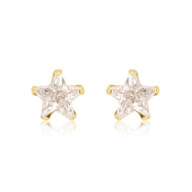 עגילים צמודים מזהב צהוב 14 קראט - כוכב הצפון - קטן