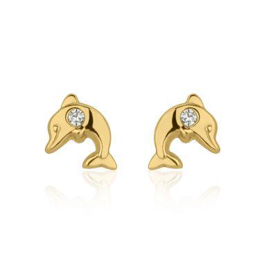 עגילי זהב צמודים -  דולפין מנצנץ