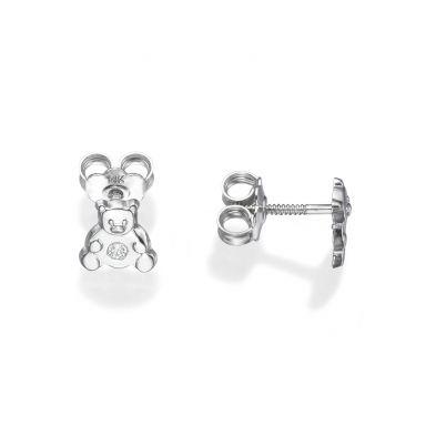 עגילי זהב לבן צמודים - דובי מנצנץ