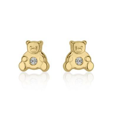 עגילי זהב צמודים -  דובי מנצנץ