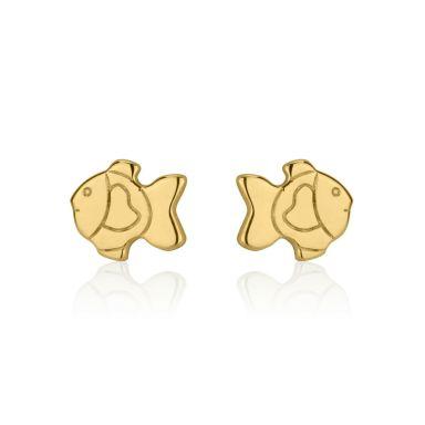 עגילים צמודים מזהב צהוב 14 קראט - דג זהב