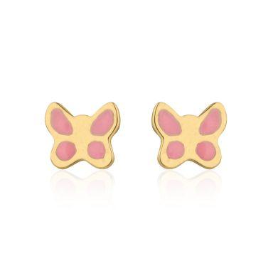עגילים צמודים מזהב צהוב 14 קראט - פרפר ורדרד