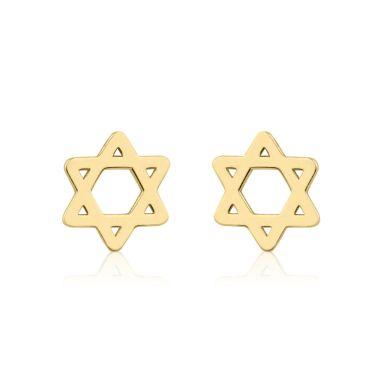 עגילים צמודים מזהב צהוב 14 קראט - כוכב מגן דוד