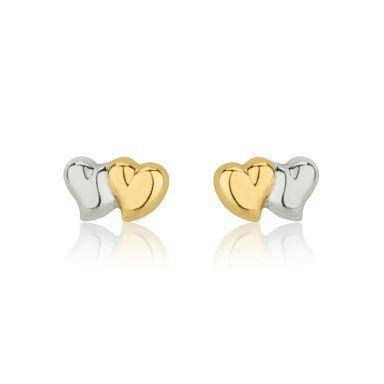 עגילים צמודים מזהב צהוב ולבן 14 קראט - לבבות משיקים