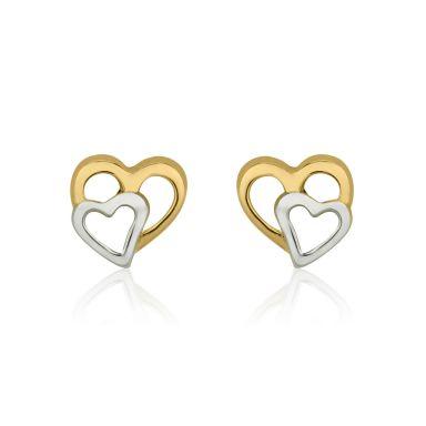 עגילי זהב צמודים -  לבבות מחוברים