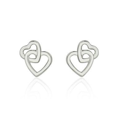 עגילים צמודים מזהב לבן 14 קראט - לבבות משולבים