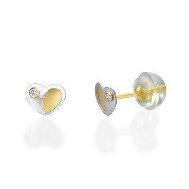 עגילי זהב צמודים -  לב פופסי