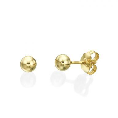 עגילי זהב צמודים -  עיגול קלאסי