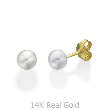 עגילי זהב צמודים -  פנינה כפתור