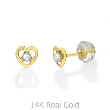 עגילי זהב צמודים -  פנינה שונטל