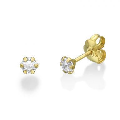 עגילי זהב צמודים -  פרח הלנה