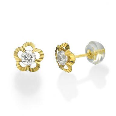 עגילי זהב צמודים -  פרח ויקטוריה