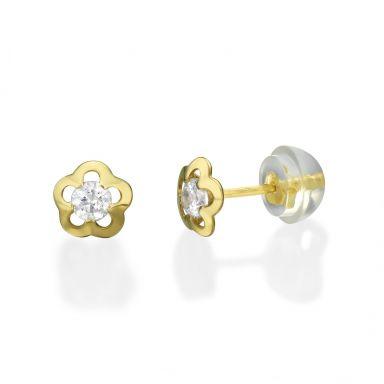 עגילי זהב צמודים -  פרח יסמין קטן