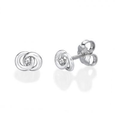 עגילי זהב לבן צמודים -  עיגולים משתלבים