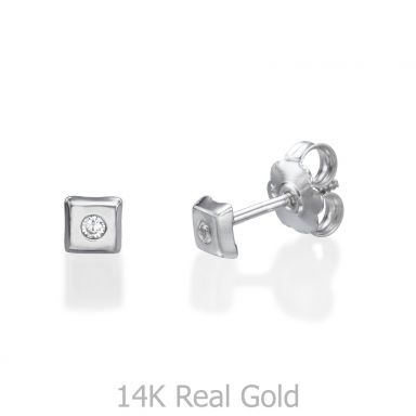 עגילי זהב לבן צמודים -  ריבוע מנצנץ קטן