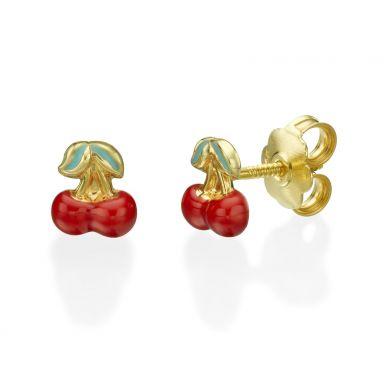 עגילי זהב צמודים -  דובדבן משמח