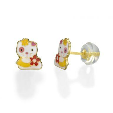 עגילי זהב צמודים -  בובה אופטימית