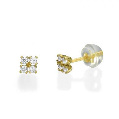 עגילי זהב צמודים -  ריבועים מנצנצים