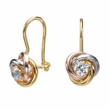 עגילי זהב תלויים - עיגולים מריאן
