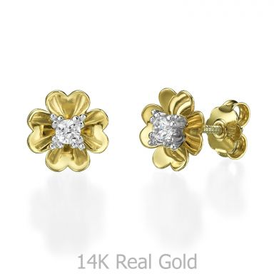 עגילים צמודים מזהב צהוב 14 קראט - פרח רוזבאד