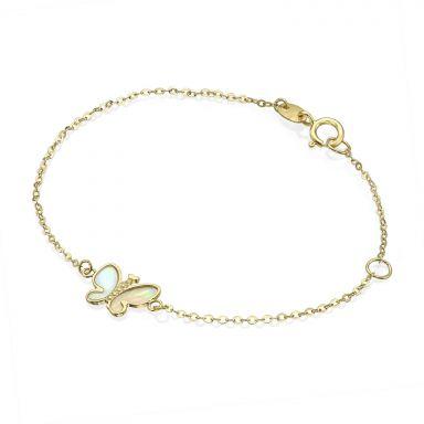 צמיד זהב לילדה - פרפר קסום