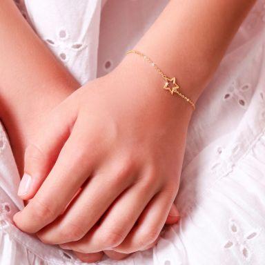 צמיד לילדה מזהב צהוב 14 קראט - כוכבי זוהר