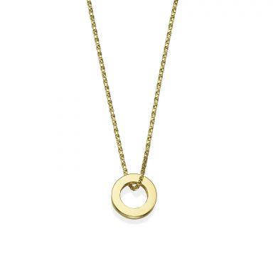 תליון ושרשרת מזהב צהוב 14 קראט - עיגול זהב