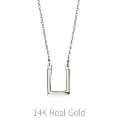 תליון ושרשרת מזהב לבן 14 קראט - ריבוע הזהב