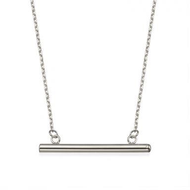 תליון ושרשרת מזהב לבן 14 קראט - צינור זהב