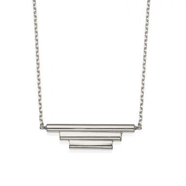 תליון ושרשרת מזהב לבן 14 קראט - צינורות הזהב