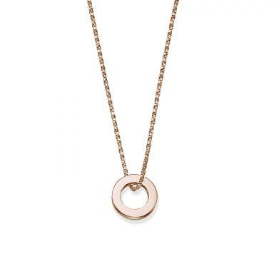 תליון ושרשרת מזהב ורוד 14 קראט - עיגול זהב