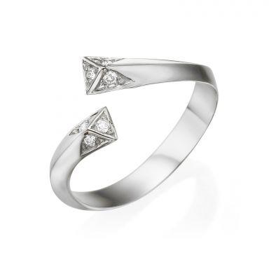טבעת יהלום מזהב לבן 14 קראט - אפרודיטה