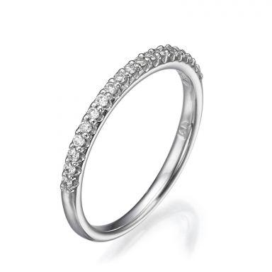 טבעת יהלום מזהב לבן 14 קראט - נסיכת הקרח