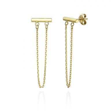 עגילים צמודים ארוכים מזהב צהוב 14 קראט - מושכות הזהב