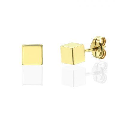 עגילים צמודים מזהב צהוב 14 קראט - קוביית הזהב - גדול