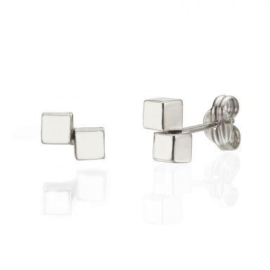עגילים צמודים מזהב לבן 14 קראט - קוביות הזהב