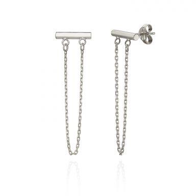 עגילים צמודים ארוכים מזהב לבן 14 קראט - מושכות הזהב