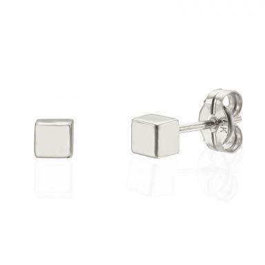 עגילים צמודים מזהב לבן 14 קראט - קוביית הזהב - קטן