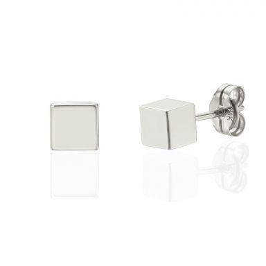 עגילים צמודים מזהב לבן 14 קראט - קוביית הזהב - גדול