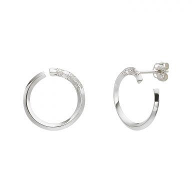 עגילי יהלום צמודים מזהב לבן 14 קראט - סאנרייז