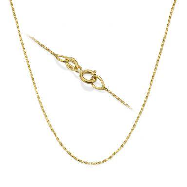"""שרשרת מסובבת זהב צהוב 14 קראט, 0.6 מ""""מ עובי, 45 ס""""מ אורך"""